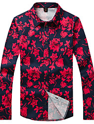 Men's Floral Casual / Plus Sizes Shirt,Cotton Long Sleeve Red
