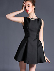 Women's Going out Sophisticated Sheath DressSolid Round Neck Mini Sleeveless Black Polyester Summer High Rise