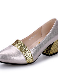Women's Dance Shoes Heels Chunky Heel Black/White/Gold/Silver