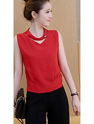 Women's Going out / Casual/Daily Simple / Cute Summer Blouse,Solid V Neck Sleeveless Red / White Others Thin