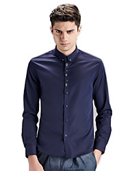 Men's Solid Casual / Work / Formal / Sport Shirt,Cotton Long Sleeve Blue / White