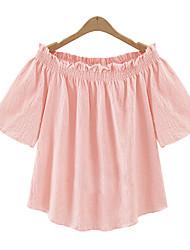 Tee-shirt Femme,Couleur Pleine Décontracté / Quotidien Sexy Eté ½ Manches Epaules Dénudées Rose Blanc Coton Fin
