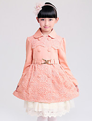 Girl's Cotton Spring/Autumn Fashion Lace Double-breasted Trench Coat