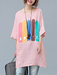 Women's Casual/Daily Cute Summer T-shirt,Striped / Letter Round Neck ½ Length Sleeve Pink Cotton / Linen Thin