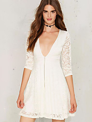 Women's Going out Sexy A Line Dress,Solid Deep V Mini ¾ Sleeve White Rayon Fall
