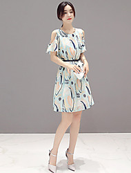 Women's Going out Cute A Line Dress,Print Round Neck Above Knee Short Sleeve Green Polyester Summer