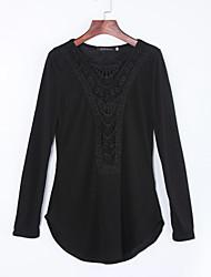 Tee-shirt Aux femmes,Couleur Pleine Décontracté / Quotidien simple Printemps Manches Longues Col Arrondi Noir / Vert / JauneCoton /