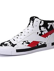 Masculino-Tênis-Conforto-Rasteiro-Branco Preto e Vermelho Preto e Branco-Couro Ecológico-Casual