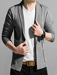 Men's Solid Casual / Work Cardigan,Cotton / Acrylic / Polyester Long Sleeve Black / Blue / Red / Gray 916342