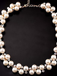 Necklace Choker Necklaces / Strands Necklaces Jewelry Wedding / Party / Daily Fashionable / Adorable Pearl / Alloy White 1pc Gift