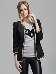 Women's Going out Sophisticated Fall Denim Jackets,Solid Round Neck Long Sleeve Black Polyester Medium
