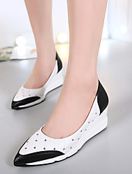 Women's Heels Fall PU Casual Wedge Heel Others Black White Silver Others