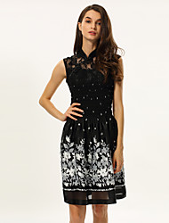 Women's Vintage/Casual Stretchy Sleeveless Knee-length Dress (Lace/Cotton)