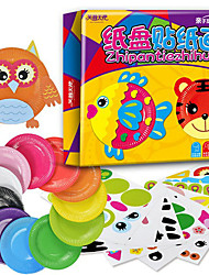 10PCS Kids DIY Creative Cartoon Animals Toys Kindergarden Handmade Sticker Colored Paper Plates Educational Toys