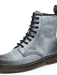 Women's Boots Fall Winter Combat Boots Leather Dress Casual Flat Heel Lace-up Brown Gray Others