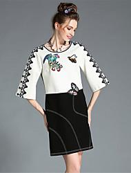 aofuli mais mulheres do tamanho Outono alta bordado laço preto branco do bloco da cor da luva de 3/4 vestido elegante do partido