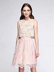 2017 lanting bride® vestido de dama de dos piezas de encaje a corto / mini - joya de una línea con el cordón