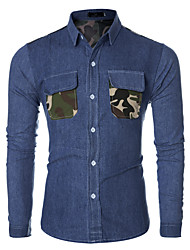 Men's Camouflage Casual / Work Shirt,Cotton / Polyester Long Sleeve Blue