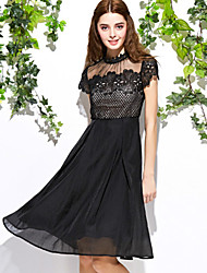 Boutique S Women's Casual/Daily Cute A Line Dress,Patchwork Round Neck Above Knee Short Sleeve Black Polyester Fall