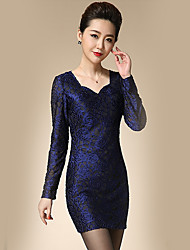 Women's Casual/Daily Simple Sheath Dress,Jacquard V Neck Above Knee Long Sleeve Blue Polyester Spring