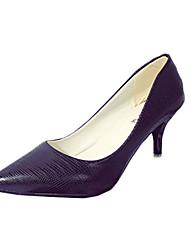 Damen-High Heels-Lässig-Kunststoff-Stöckelabsatz-Komfort-Schwarz Weiß