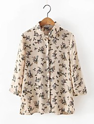 Women's Casual/Daily Street chic Summer Blouse,Print Shirt Collar Long Sleeve Beige Cotton / Linen Thin