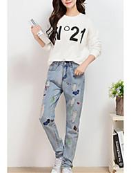 Damen Hose - Street Schick Jeans Baumwolle Unelastisch