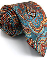 Men's Necktie Tie 100% Blue Floral Orange Jacquard Woven Dress For Men Wedding Dress Casual