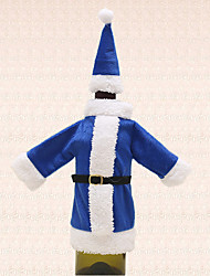 1pc Christmas Blue Wine Bottle Bag Cover Santa Suit Clothing Hat Table Dinner Decoration Holiday