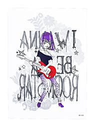 1pc Rock Band Beauty Girl Tattoo Design Women Men Body Back Art Temporary Tattoo Sticker Bar Night Party HB-400