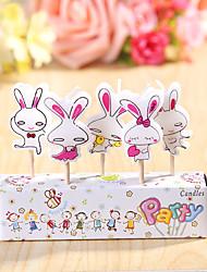 partido velas de aniversário decoração happybirthday definidos (5 Pieces) coelhos bonitos pequena vela