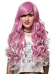 Light red gradient long curly hair, Europe and the United States fashion wig.