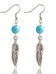 New Bohemia Style Simple Round Turquoise Beads Leaves Earrings For Women Oorbellen Vintage Fashion Earring