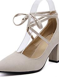 Women's Heels Spring / Fall Heels Fleece Party & Evening / Dress Chunky Heel Lace-up Black / Beige Others