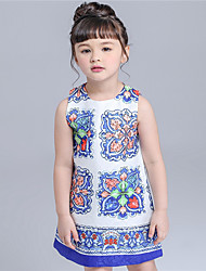 KIMOCAT  Girl's Casual/Daily Print Dress,Cotton Summer Blue