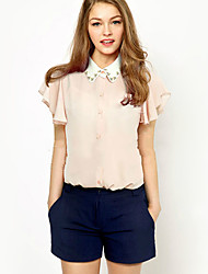 Women's Casual/Daily Sexy Summer Blouse,Solid Shirt Collar Short Sleeve Blue / White Cotton / Polyester Opaque