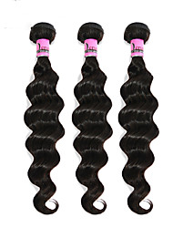 "3 Pcs Lot 8""-30""Virgin Brazilian Loose Wave Hair Wefts Natural Black 1B# Cheap Remy Human Hair Weave Bundles Tangle Free"