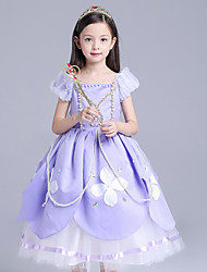 Ball Gown Tea-length Flower Girl Dress - Polyester Short Sleeve Off-the-shoulder with Pearl Detailing