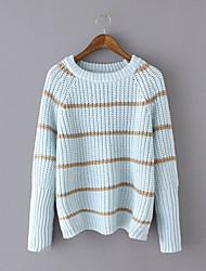 Damen Kurz Pullover-Lässig/Alltäglich Einfach Gestreift Blau / Rosa / Rot / Weiß Rundhalsausschnitt Langarm Baumwolle Herbst / Winter