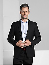 2017 Suits Slim Fit Notch Single Breasted One-button Viscose Solid 2 Pieces Black Straight Flapped