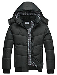 Men's Regular Padded Coat Casual/Daily Solid-Nylon Polypropylene Long Sleeve