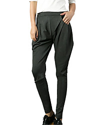 Spring/Fall Women's Harem Pants Loose Was Thin Pants Feet Solid Color Multi Pocket