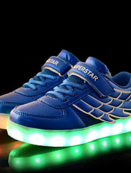 Para Meninas-Tênis-Conforto Light Up Shoes-Rasteiro-Azul Rosa Branco-Tule Couro Ecológico-Casual