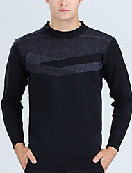 Men's Color Block Casual Pullover,Wool Long Sleeve Black / Blue