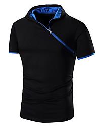 Pull à capuche & Sweatshirt Pour des hommes Couleur Pleine Décontracté / Sport Coton Manches Courtes Noir / Gris