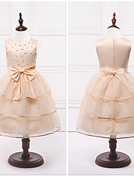 Ball Gown Tea-length Flower Girl Dress - Organza / Satin Sleeveless Jewel with Bow(s) / Tiers
