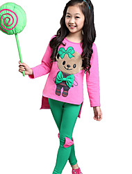 Girl's Cotton Spring/Autumn Cartoon Bear Splice Sweatshirts And Pants Two-piece Set