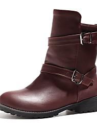 Women's Boots Comfort / Round Toe Wedding / Outdoor / Dress Chunky Heel Buckle / Split Joint Black / Burgundy