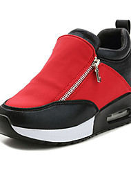 Women's Shoes Leatherette Winter Wedges / Comfort Heels Casual Flat Heel Zipper Black / Red / Silver