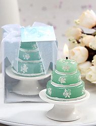 4box/set Lovely Green Candle With Snow Prints with Ceramic Candle Holder Beter Gifts® Wedding Favor